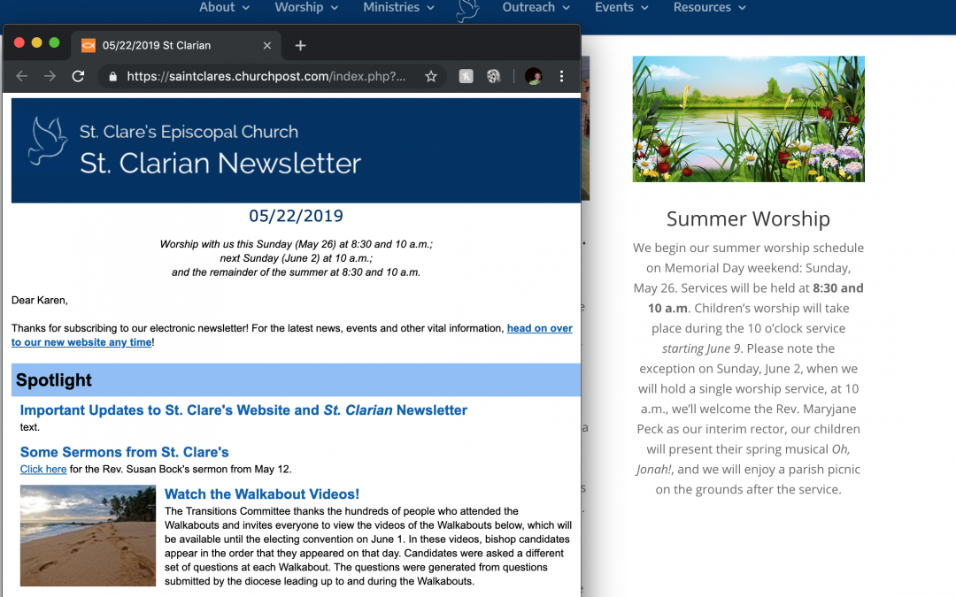 Important Updates to St. Clare's Website and St. Clarian Newsletter